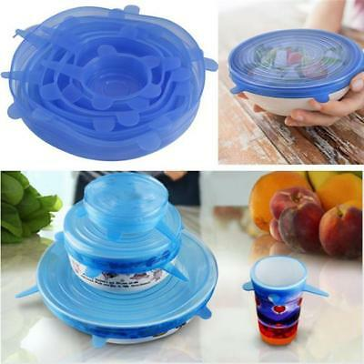 6X New Silicone Stretch Lids Keep Fresh Food Silicone Cover Frozen Microwave 6L