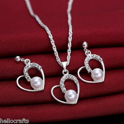 Fashion Jewelry Rhinestone Bridal Crystal Heart Necklace Earrings Set Jewelry