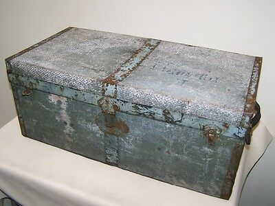 great old Suitcase with Steel reinforcement Steamer trunk,Treasure chest