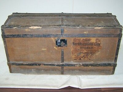 great old Wooden box with Iron bands, Chest Overseas, Treasure Travel cases