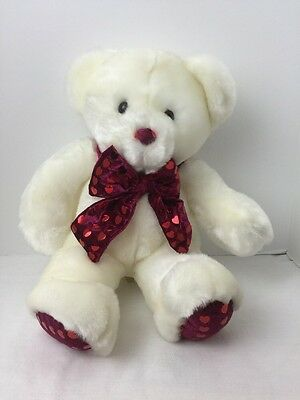 "Dan Dee White Bear 17"" Heart Bow Valentines Red Nose"