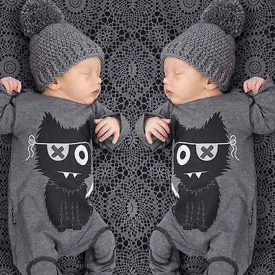 Toddler Baby Boys Girl Kids Long Sleeve Romper Jumpsuit Bodysuit Outfits 0-24M