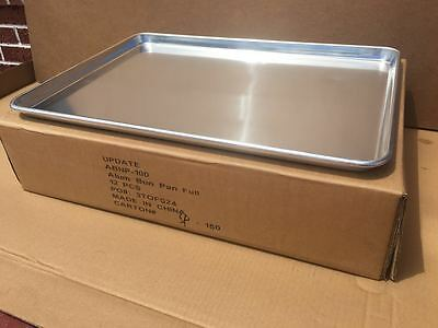 "12-Pack Full Size 18 Gauge Aluminum Bun Pan With Wire in Rim, 18"" x 26"""