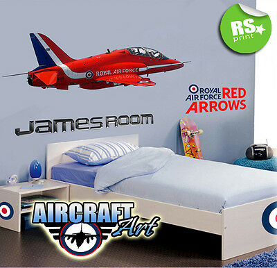 Kids Bedroom Personalised- Wall Sticker  Decal Red Arrows Aeroplane  -V.lrg.