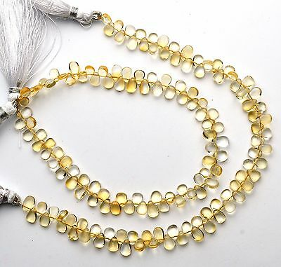 """Natural Gem Citrine 4x6 to 5x7MM Smooth Pear Shape Briolettes 9"""" Strand"""