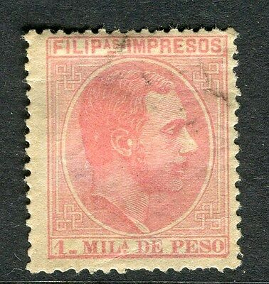 PHILIPPINES; 1886-9 early classic Alfonso issue fine used 1m. value