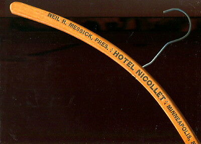 1930-40s VTG Wood Advertising Clothes Hanger HOTEL NICOLLET Minneapolis MN