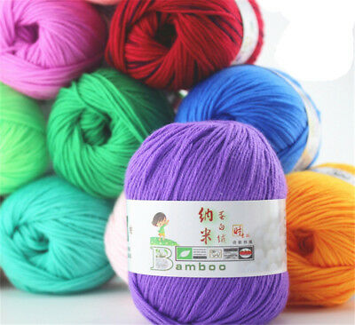 Wholesale popular color Super Soft Natural Smooth Bamboo Cotton Kniting 50g Yarn