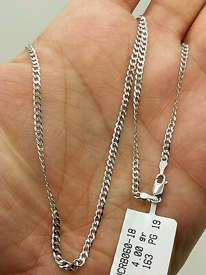 """14k Solid White Gold Cuban Curb Link Necklace Chain 24"""" 2.6mm"""