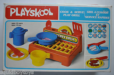 PLAYSKOOL Cook & Serve PLAY GRILL 1980s RARE TOY