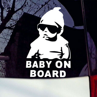 Funny Cool Baby on Board Vinyl Car Sticker with sunglasses Decal Sign Window