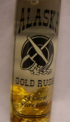 Glass vial of Real 24K gold flakes - Gold Rush Alaska - Gold Flakes in liquid