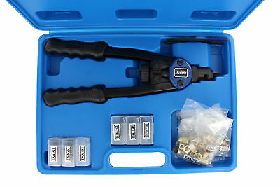 ABN® Hand Riveter Tool Kit Set – Rivet Setter Gun & SAE Metric Riveting Nuts
