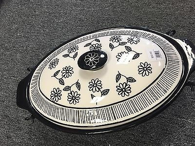 Small Black and White Floral Temptations with Lid and Metal Rack