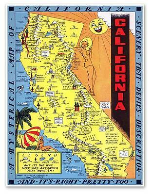 "Hysterical Map of the State of California circa 1948 Art Print Poster 18"" x 24"""