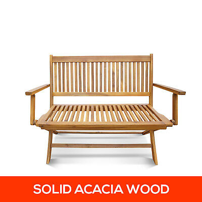 2 Seater Foldable Outdoor Timber Hardwood Bench Wooden Garden Chair Furniture