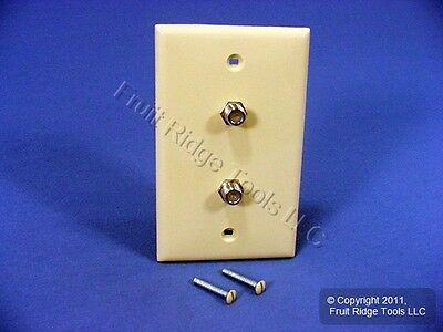 Leviton Ivory Dual Coaxial Cable CATV Wallplate Duplex Video Jack 80782-I