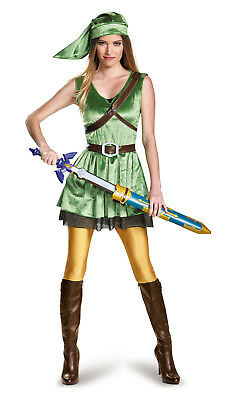 Link Women's Adult Costume Legend of Zelda Cosplay Green Gamer Group XS S M L XL