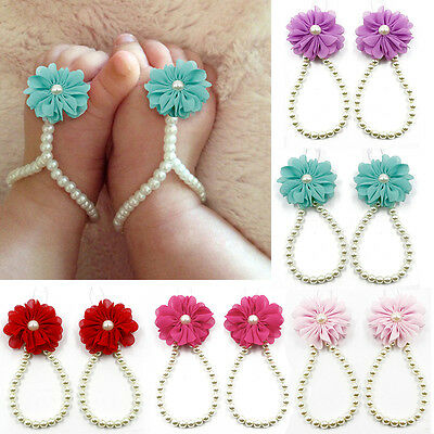 HOT Lovely Chiffon Flower Baby Toddler Pearl Barefoot Pearl Anklet Foot Bracelet
