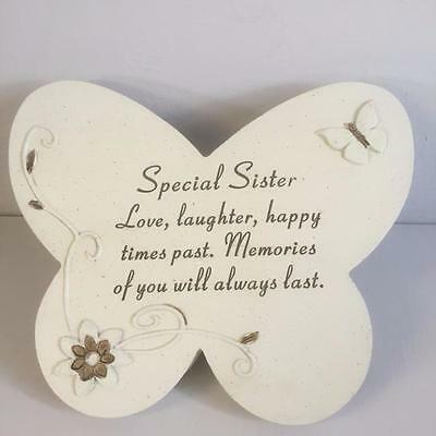 New SPECIAL SISTER Grave Memorial BUTTERFLY STONE Plaque Ornament Garden Home
