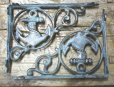2 Cast Iron NAUTICAL ANCHOR Brackets Garden Braces Shelf Bracket PIRATES SHIP