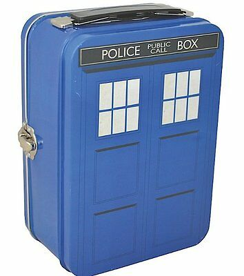 Licensed DR WHO Doctor WHO TARDIS TIN TOTE - Metal SCHOOL Lunch Box BLUE