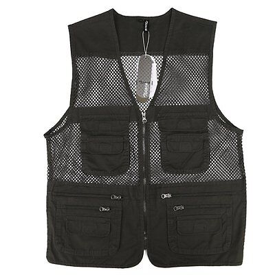 Men's Multi-Pocket Pure Cotton Outdoor Sport Mesh Vest Hunting Fishing Waistcoat
