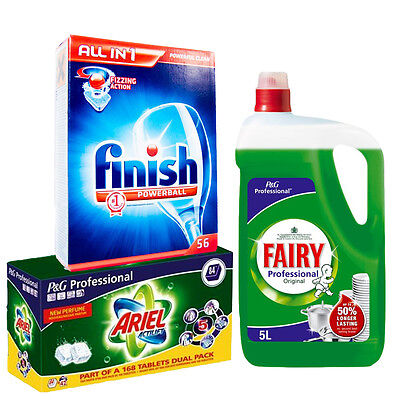 Washing Value Pack - Fairy Liquid - Ariel Actilift Tabs - Finish Powerball Tabs
