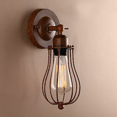 Vintage Antique Industrial Wall Light Rustic Wall Sconce Lamp Iron Cage Fixture