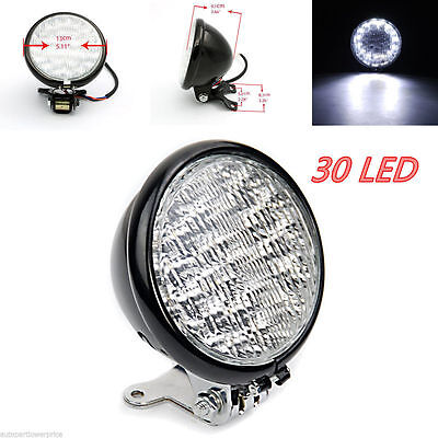 "5"" 12V Round Motorcycle 30 LED Headlight White Lamp Head Light For Honda Yamaha"