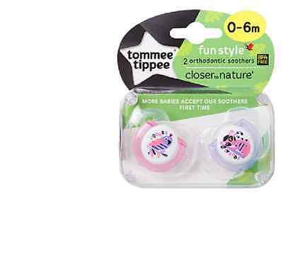 Tommee Tippee 433357 Closer to Nature Fun Style 0-6m 2x Orthodontic Soothers
