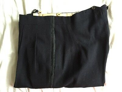Vintage Midnight Blue Barathea Black Tie Dinner Evening Trousers Size 34 35 X 32