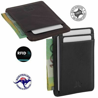 RFID Genuine Leather Slim Men's Credit Card Wallet 4 Cards Notes Multi Colours