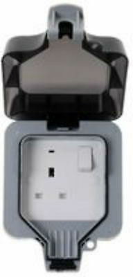 EXTERNAL OUTDOOR MAINS POWER SINGLE SOCKET 13A 230V IP66 weatherproof patio shed