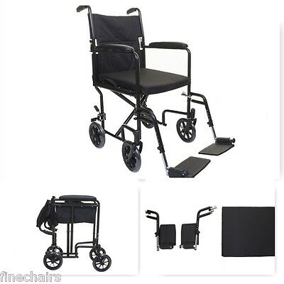 Lightweight Folding Transit Travel Wheelchair Foldable Handles