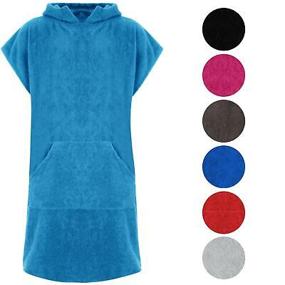 Unisex Hooded 100% Cotton Changing Robe Beach Terry Towelling Surf Poncho Towel