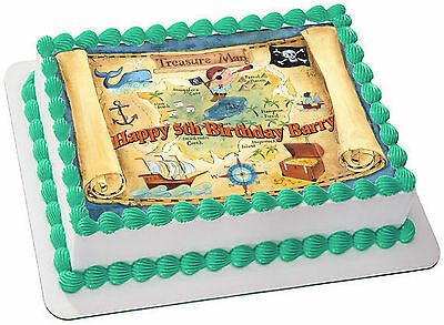 Pirate Treasure Map Real Edible Icing Cake Topper Party Image Frosting Sheet