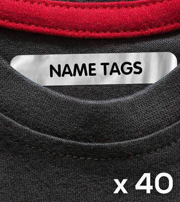 40 x Personalised Iron On School Uniform Labels Name Tags