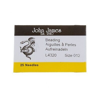 Size 12 John James Beading Needles 51mm Pack of 25 Made in UK (E39/4)