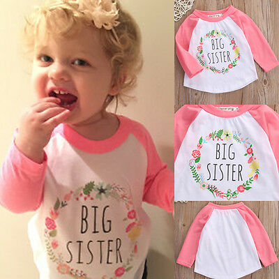 Hot Big Sister Kids Toddler Baby Girl Outfits Letter T-shirt Cotton Tops Clothes