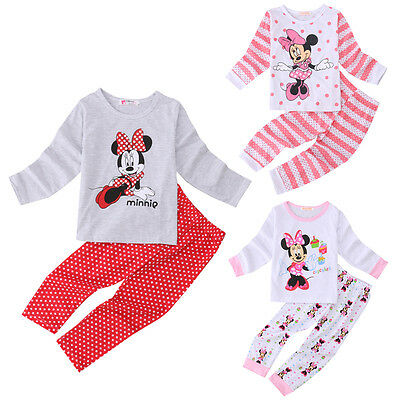 2Pcs Kids Toddlers Girls Minnie Mouse Pajamas Tops Pants Set Sleepwear Nightwear
