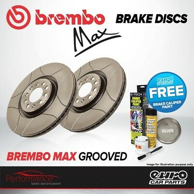 Brembo Max Front Vented High Carbon Grooved Brake Disc Pair Discs x2 09.9772.75