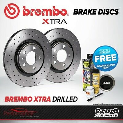 Brembo Xtra Front Vented High Carbon Drilled Brake Disc Pair Discs x2 09.9772.1X