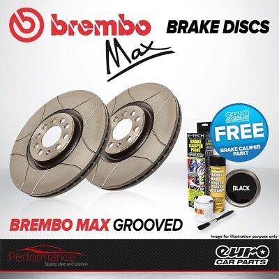 Brembo Max Front Vented High Carbon Grooved Brake Disc Pair Discs x2 09.7825.75