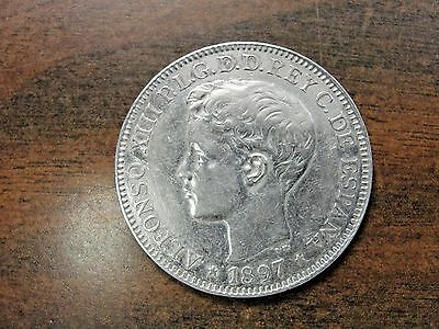 1897 Philippines Spanish Colonial Alfonso XIII Silver UN Peso Km-154