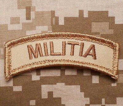 Militia Army Tab Rocker Tactical Badge Desert Arid Velcro® Brand Fastener Patch