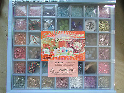 Bead Buzz Hobby Do's Craft Jewelry Complete Kit Set Glass Beads Wooden Tray Box