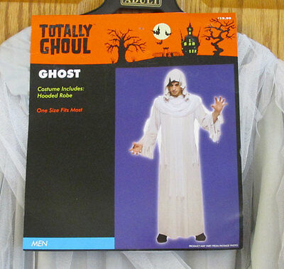 Ghost Costume Halloween Mens Adult Hooded Robe Light Gray Totally Ghoul