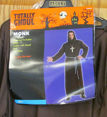 Monk Robe Costume Mens Adult Robe w/ Collar Hood Belt Necklace Totally Ghoul