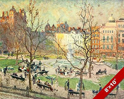 Leichester Square England English Landscape Art Painting Real Canvas Print